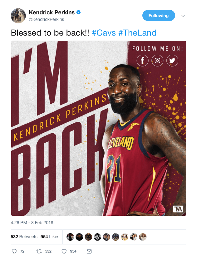 Kendrick Perkins tweets 'I'm blessed to be back' then deletes it