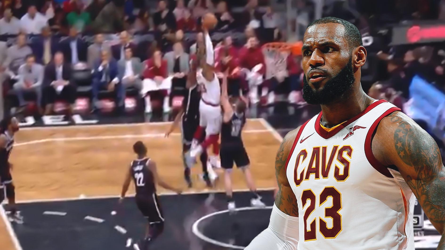 check out 3c34f 0f48f Cavs video: LeBron James posterizes Joe Harris, Nets